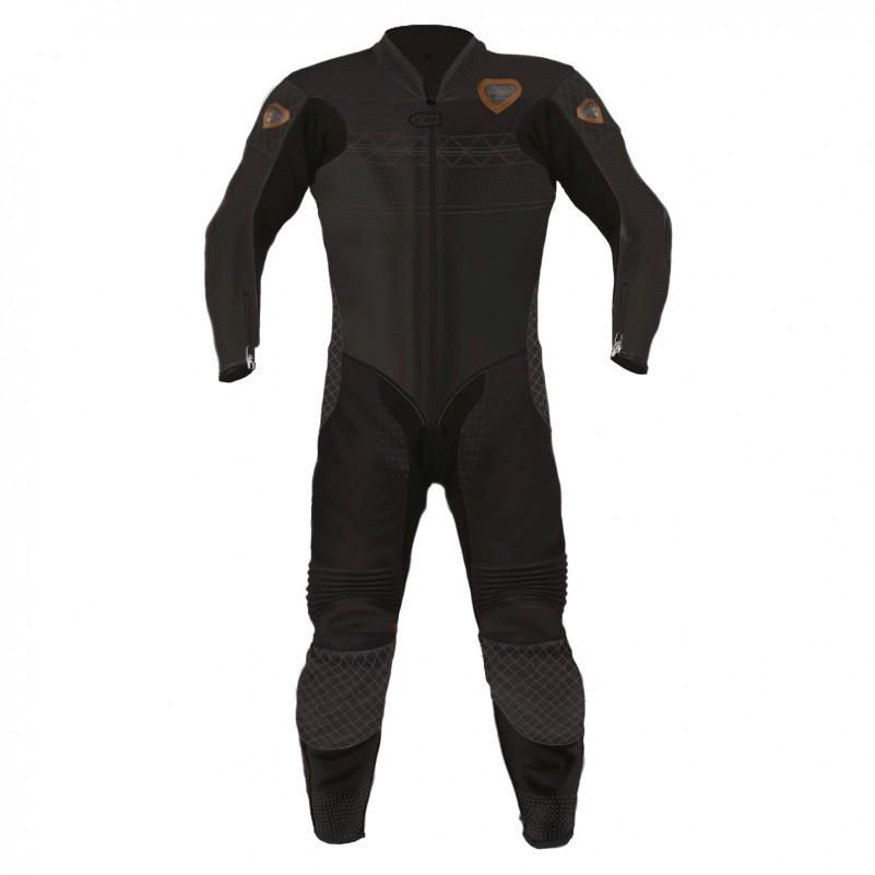 Combinaison de moto en cuir Black LEGEND marque Vidal Sport vue de face