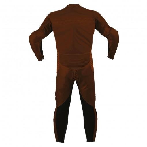 Combinaison de moto en cuir Brown LEGEND marque Vidal Sport vue de dos